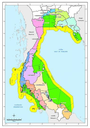 เขตความรับผิดชอบเชิงพื้นที่บกบนและเขตการปกครองจังหวัดทางทะเล